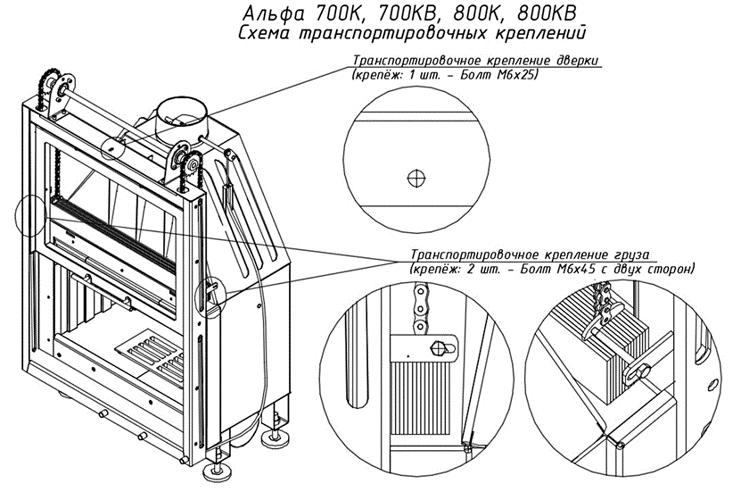 Схемы каминных топок Экокамин серии Альфа